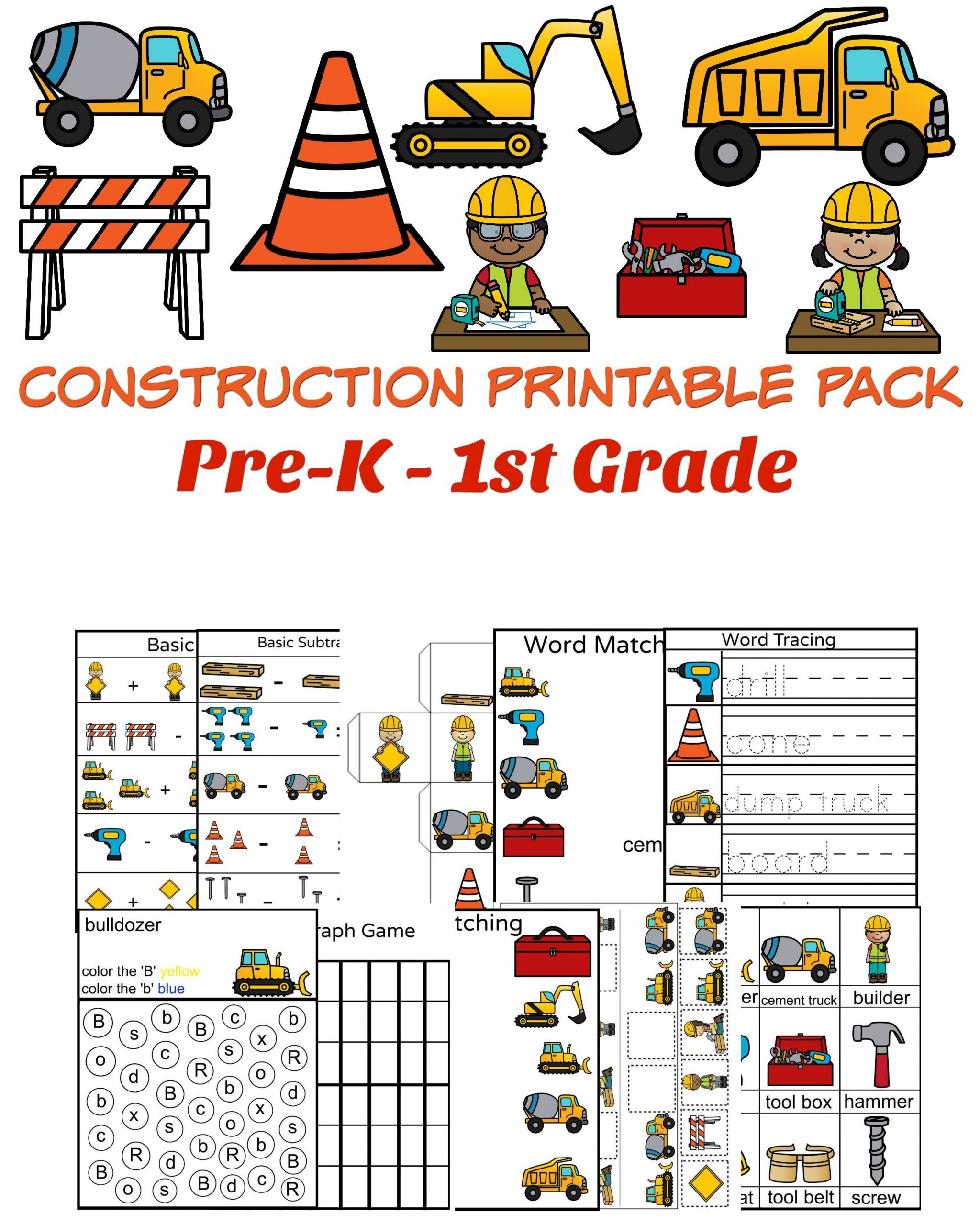 Construction Math Worksheets Construction themed Math and Literacy Worksheets