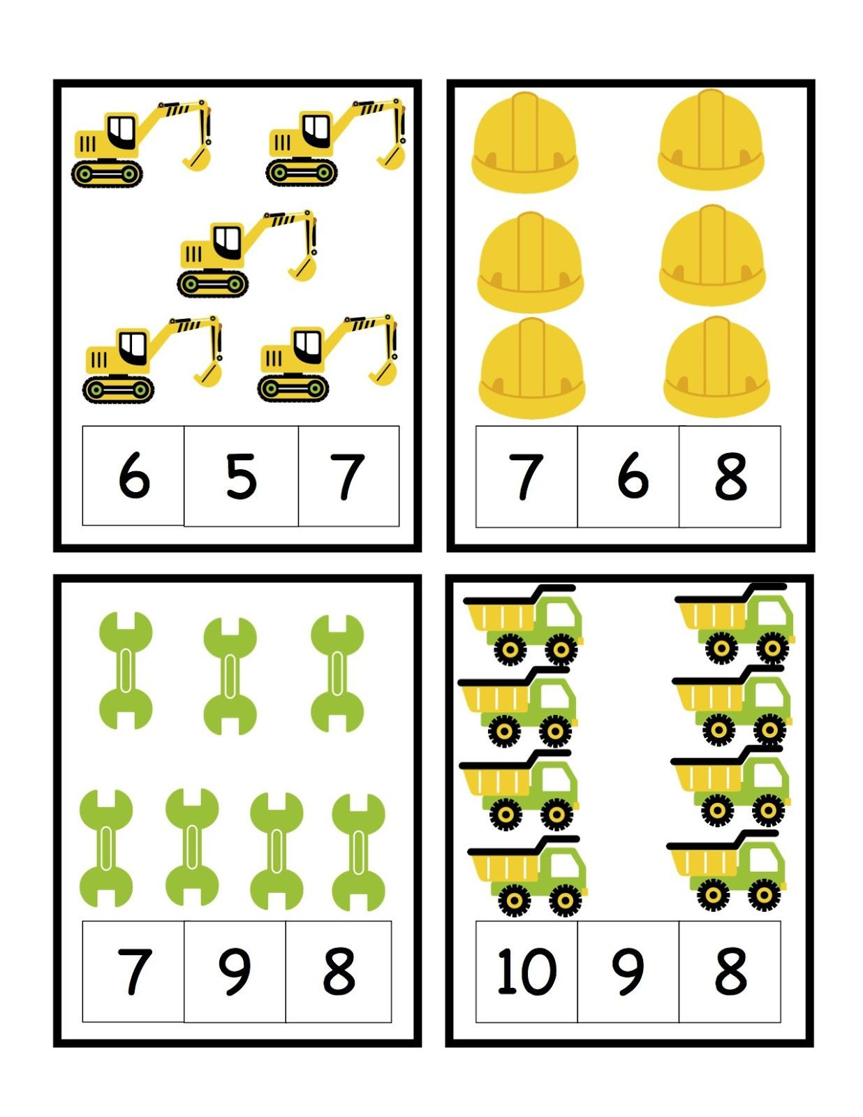 Construction Math Worksheets Preschool Printables Construction Printables Counting and