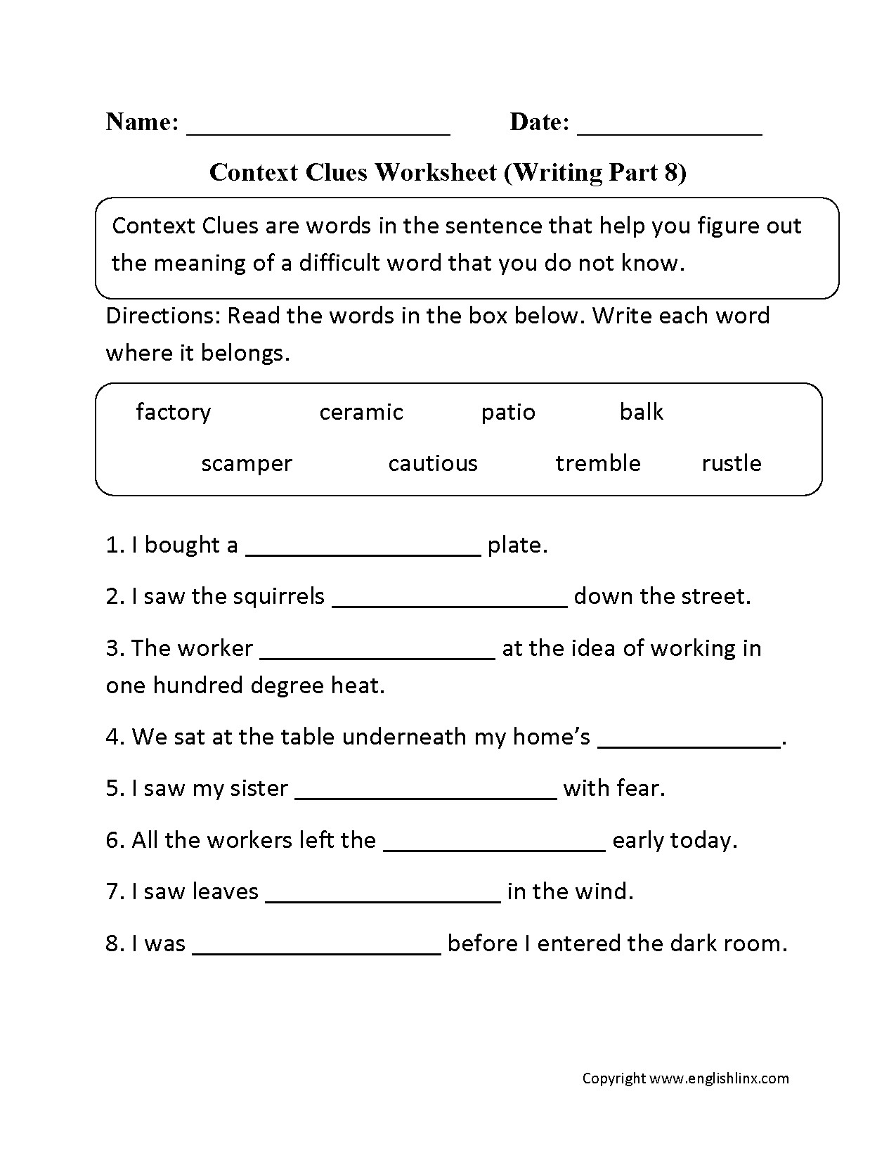 Context Clues 5th Grade Worksheets 7th Grade Context Clues Worksheets