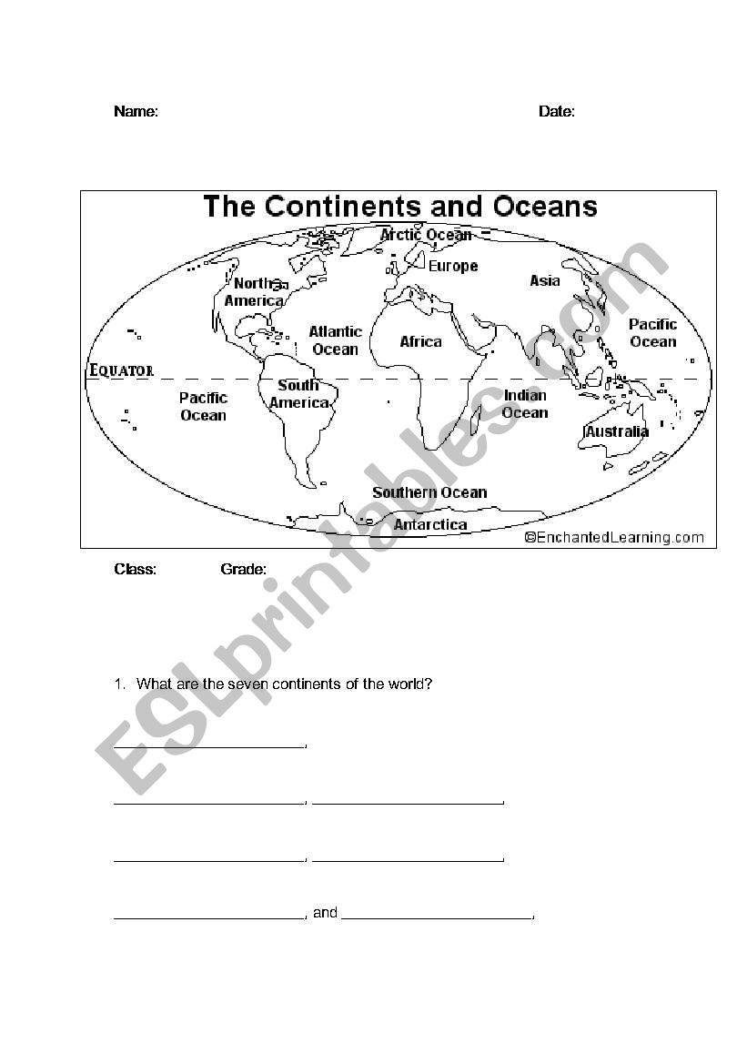 Continents and Oceans Printable Worksheets Continents and Oceans Esl Worksheet by Bbrenton