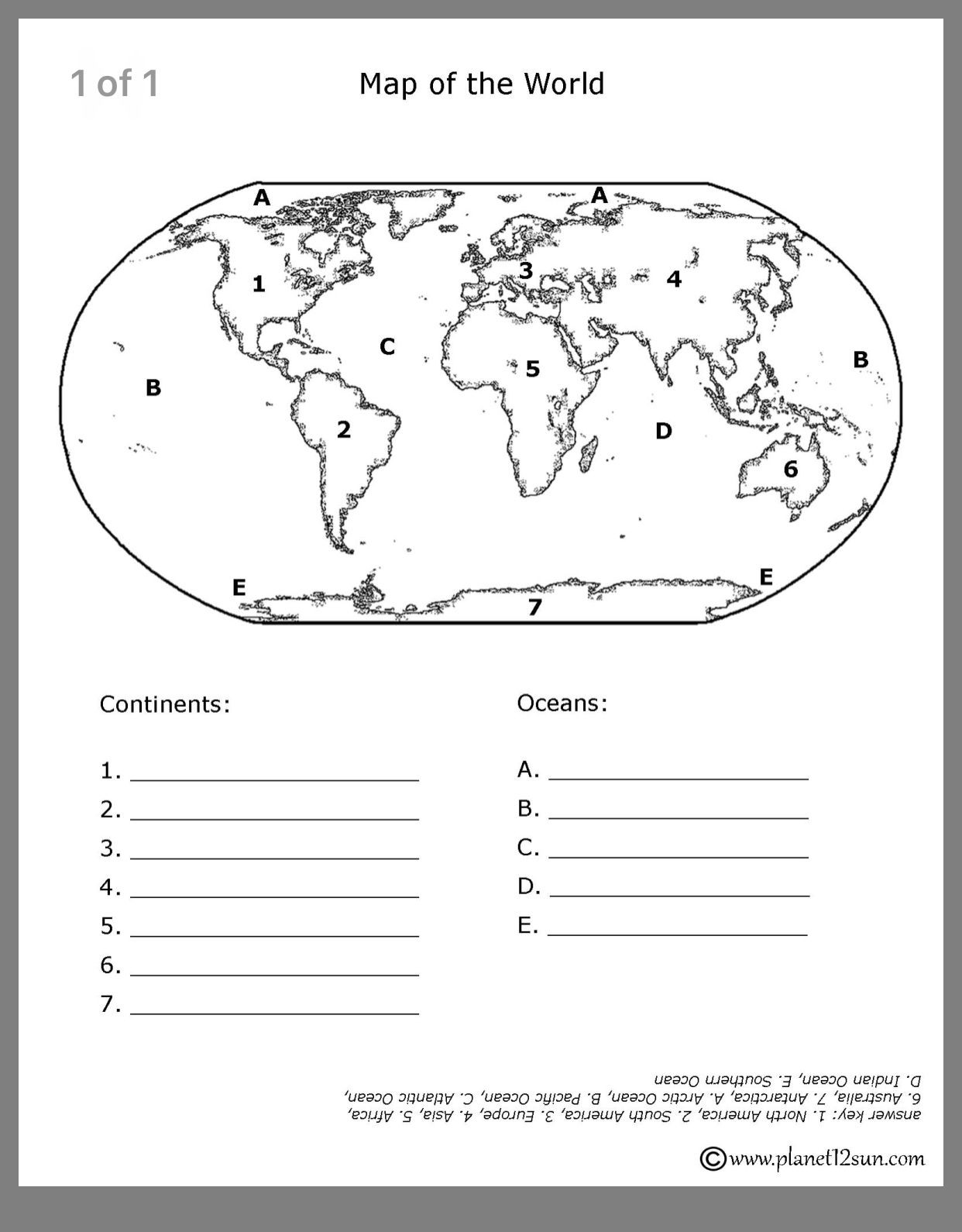 Continents and Oceans Printable Worksheets Pin by Dawn Tran On Geography for Ava with Images