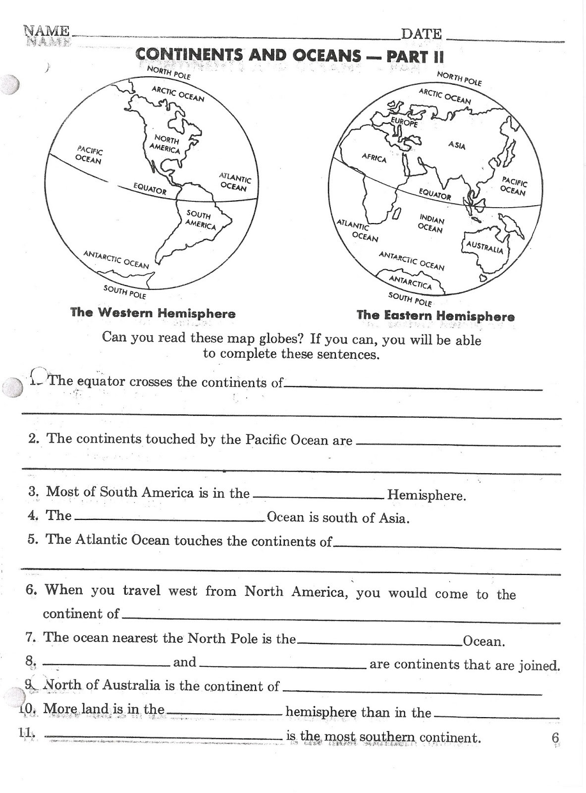 Continents and Oceans Printable Worksheets Super Teacher Worksheets Continents