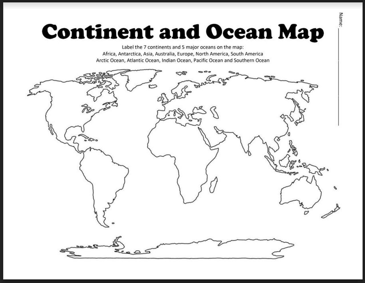 Continents and Oceans Worksheet Printable Continent and Ocean Map Worksheet Blank