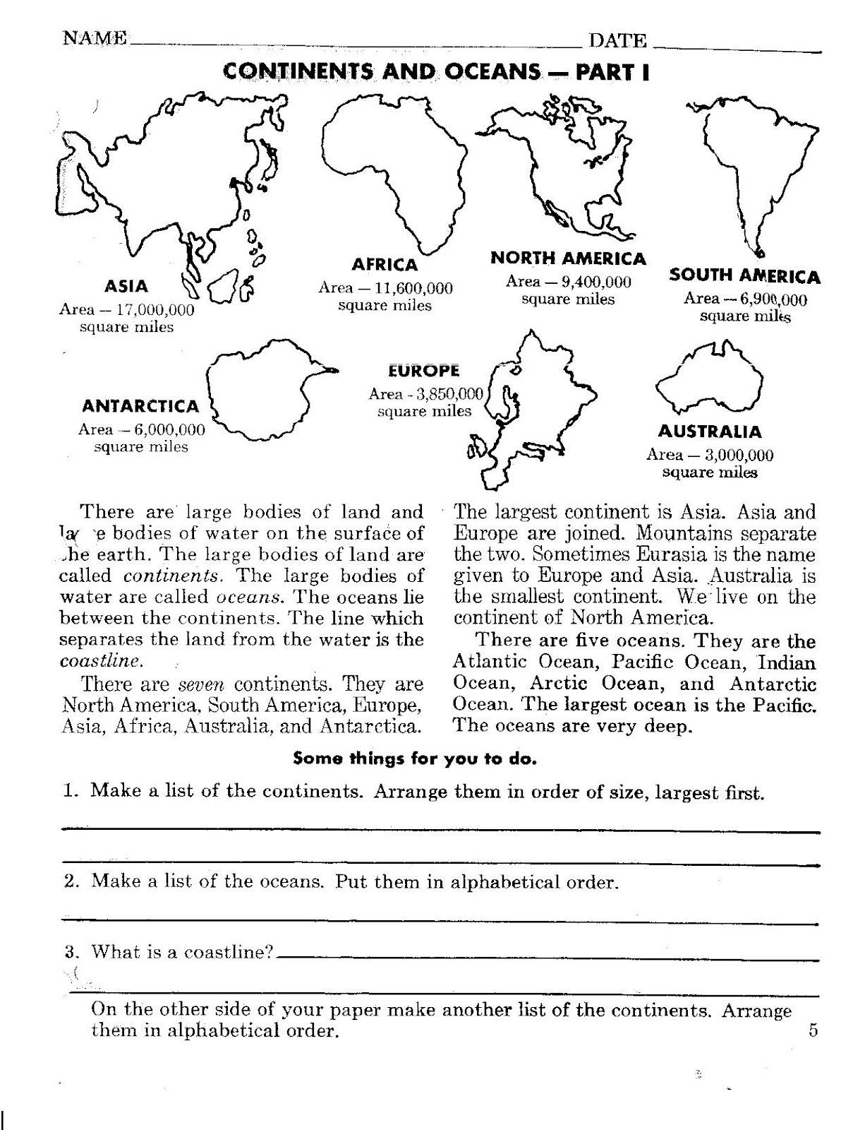 Continents and Oceans Worksheet Printable Continents and Oceans Worksheets
