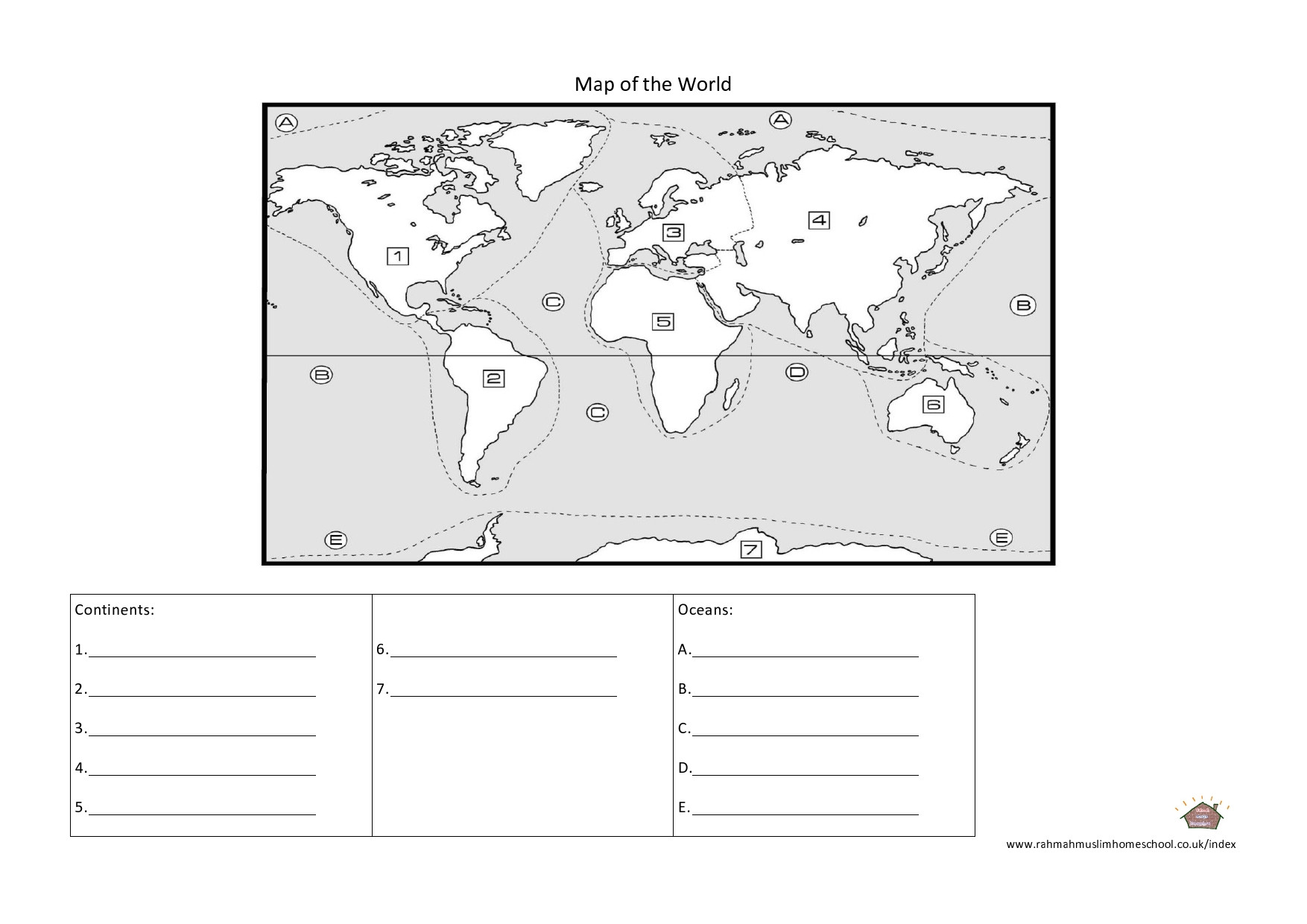 Continents and Oceans Worksheet Printable Geography Continents and Oceans Worksheet