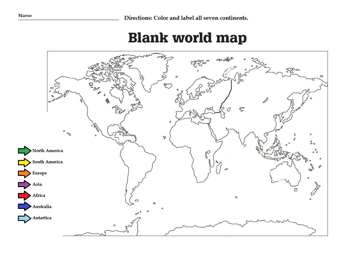 Continents and Oceans Worksheet Printable Label the the Continents and Color them Great Worksheet for
