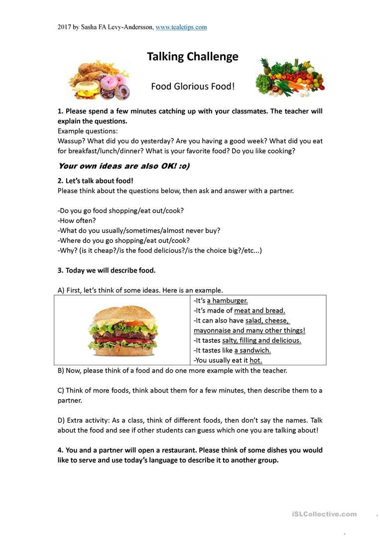 Cooking Worksheets for Middle School Discussion Lesson About Food Worksheet Free Esl Printable