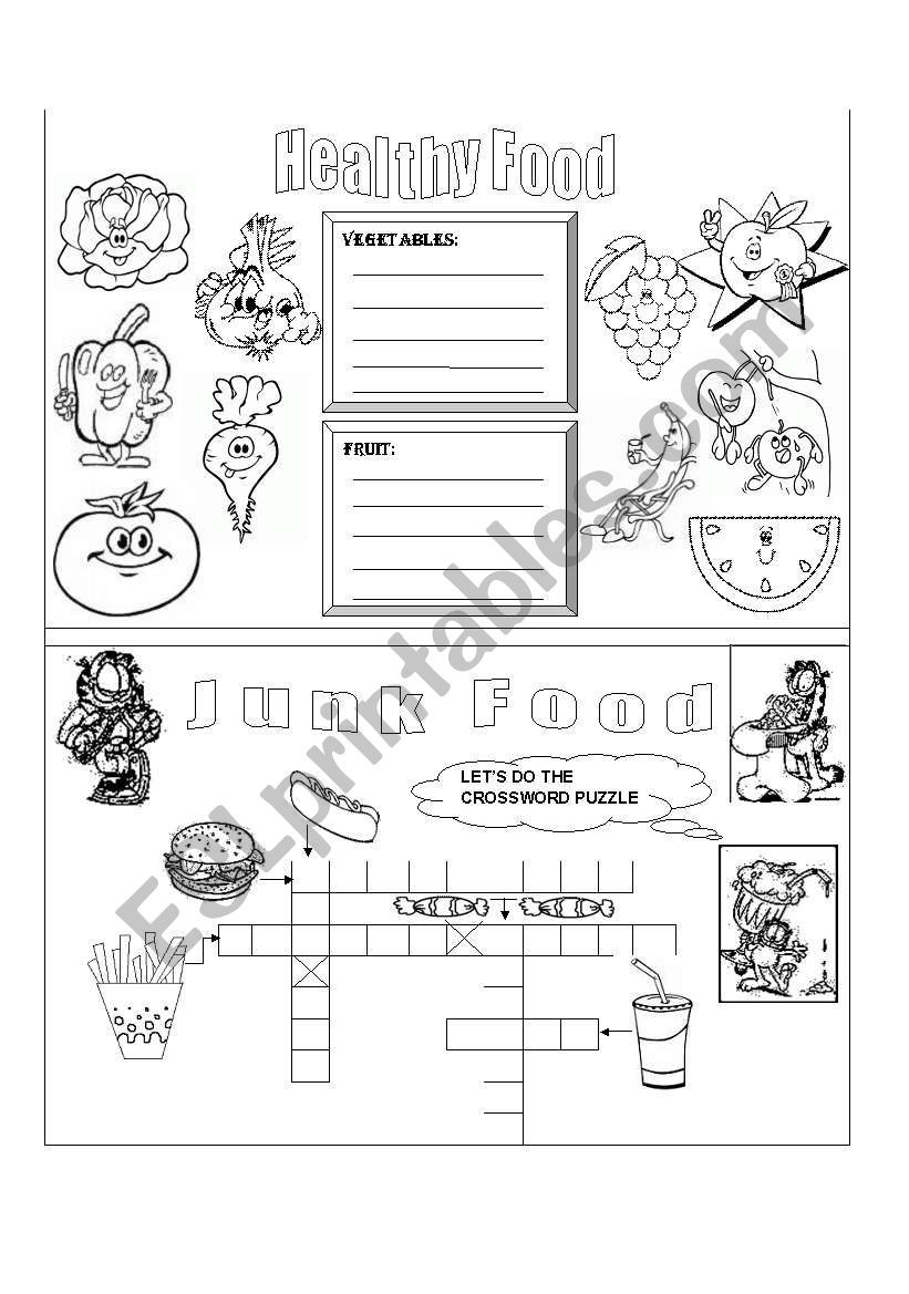 Cooking Worksheets for Middle School Healthy and Junk Food Esl Worksheet by Lperecita