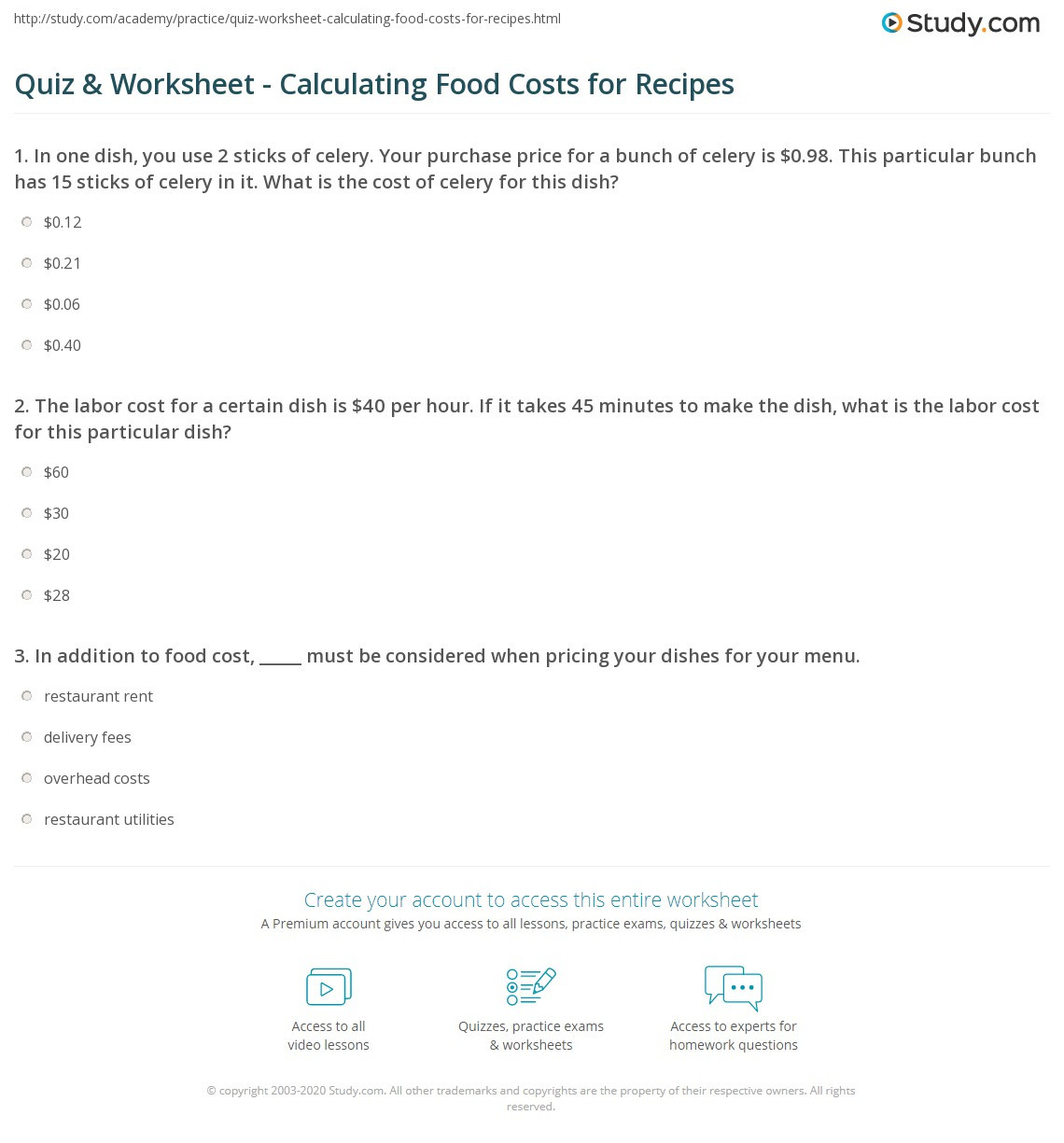Cooking Worksheets for Middle School Quiz & Worksheet Calculating Food Costs for Recipes