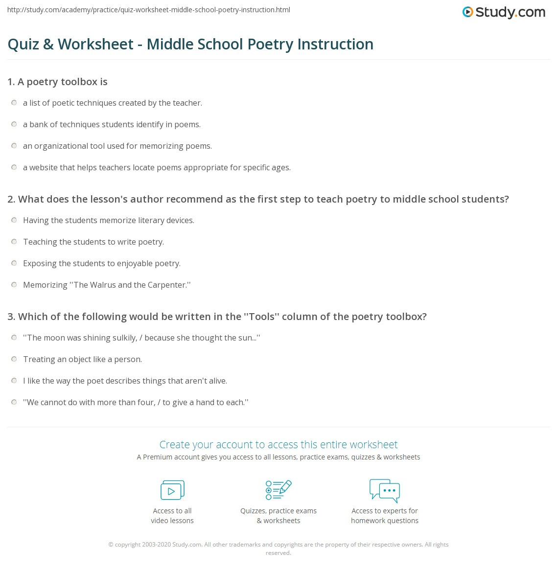 Cooking Worksheets for Middle School Quiz Worksheet Middle School Poetry Instruction Study