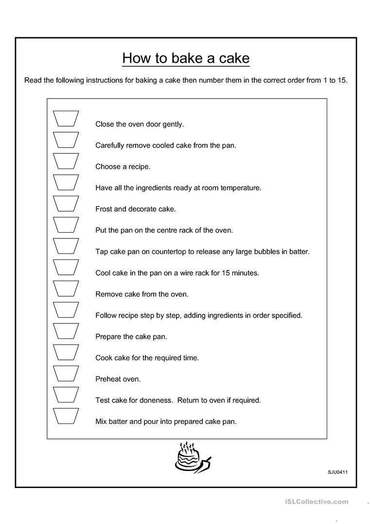 Cooking Worksheets for Middle School to Bake Cake English Esl Worksheets for Distance Learning