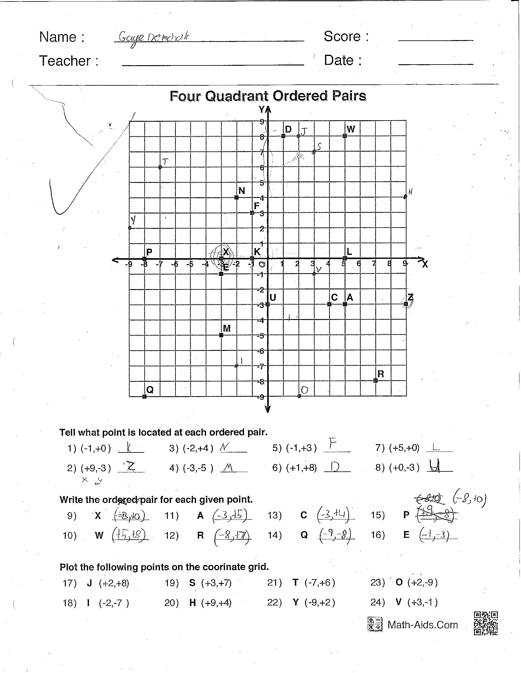 Coordinate Grid Worksheets 5th Grade ordered Pairs Grid Worksheets