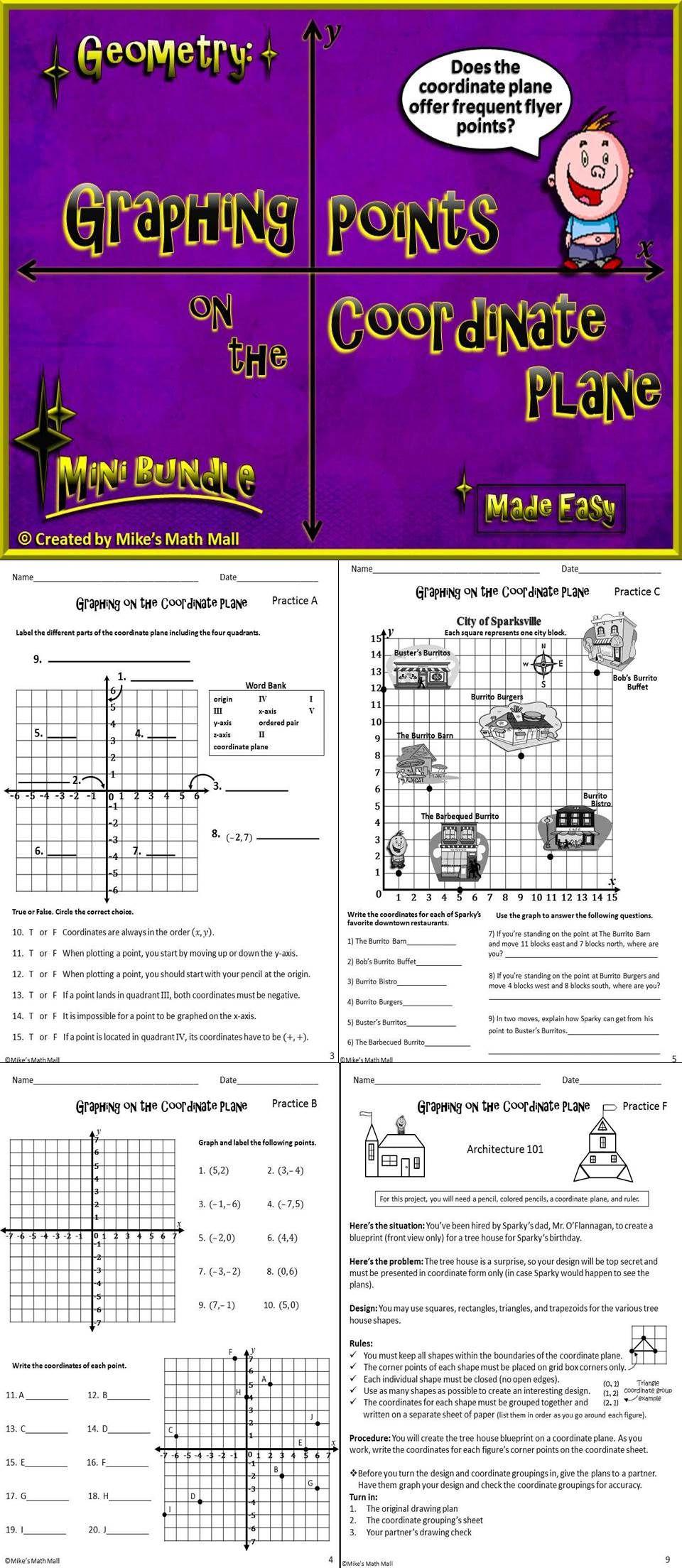 Coordinate Plane Worksheet 5th Grade Graph Points On the Coordinate Plane Mini Bundle