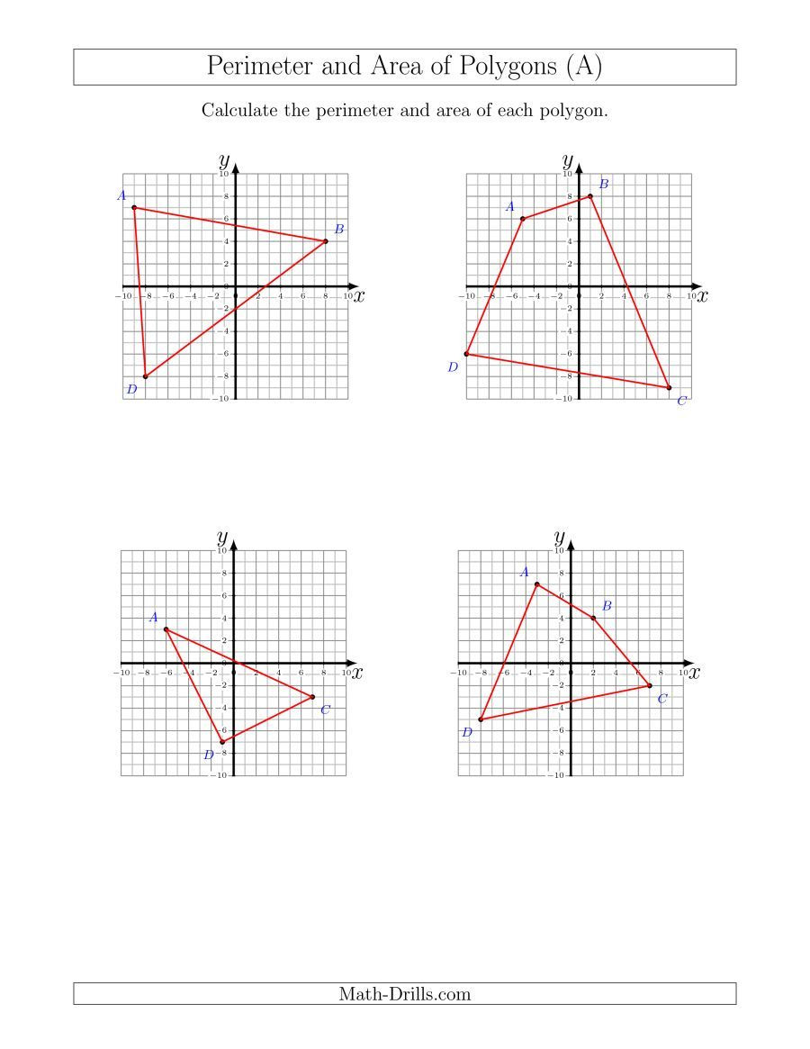 Coordinate Plane Worksheet 5th Grade the Perimeter and area Of Polygons On Coordinate Planes A