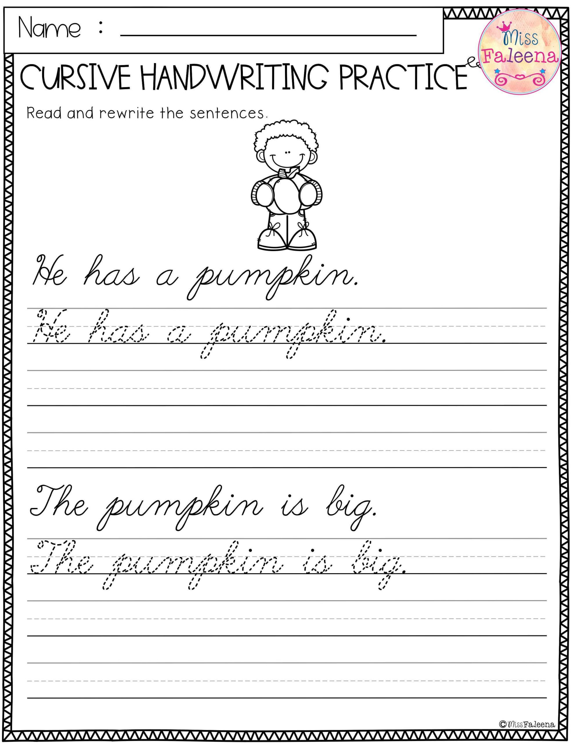Cursive Sentences Worksheets Printable Free Cursive Handwriting Practice
