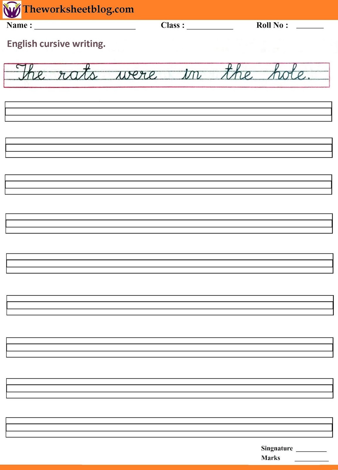 Cursive Sentences Worksheets Printable Handwriting Sentence Worksheets