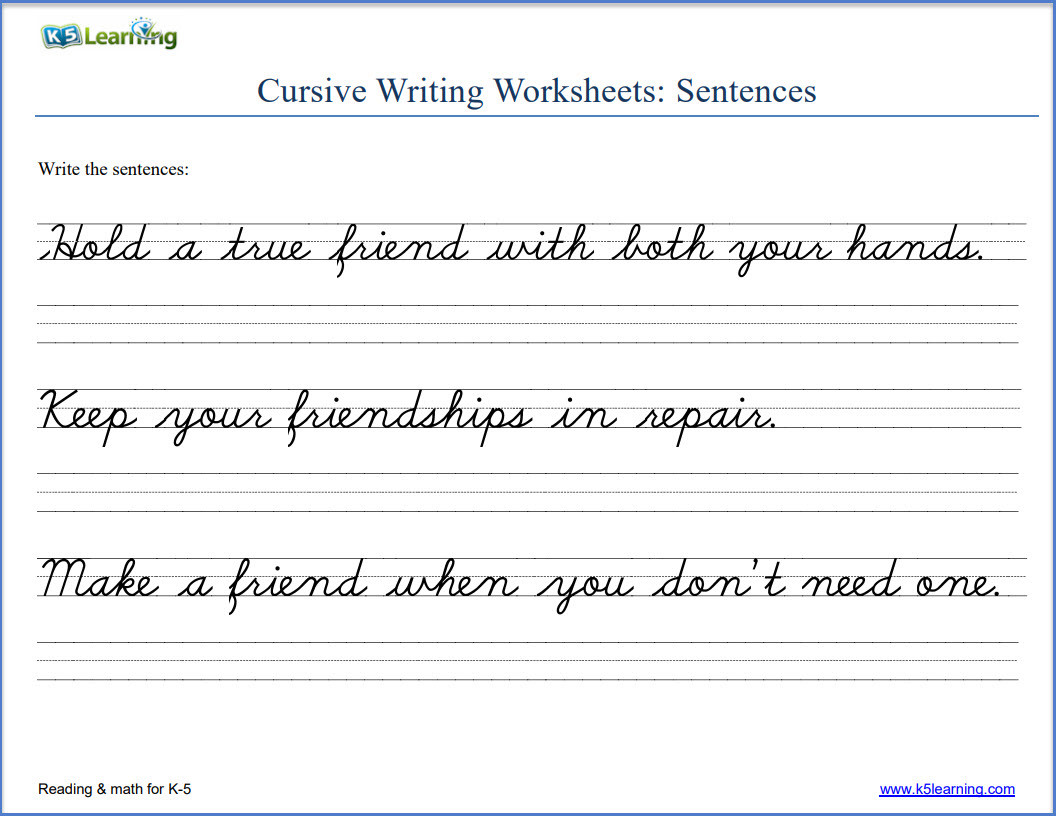 Cursive Sentences Worksheets Printable Math Worksheet Cursive Writing Sentences Worksheets