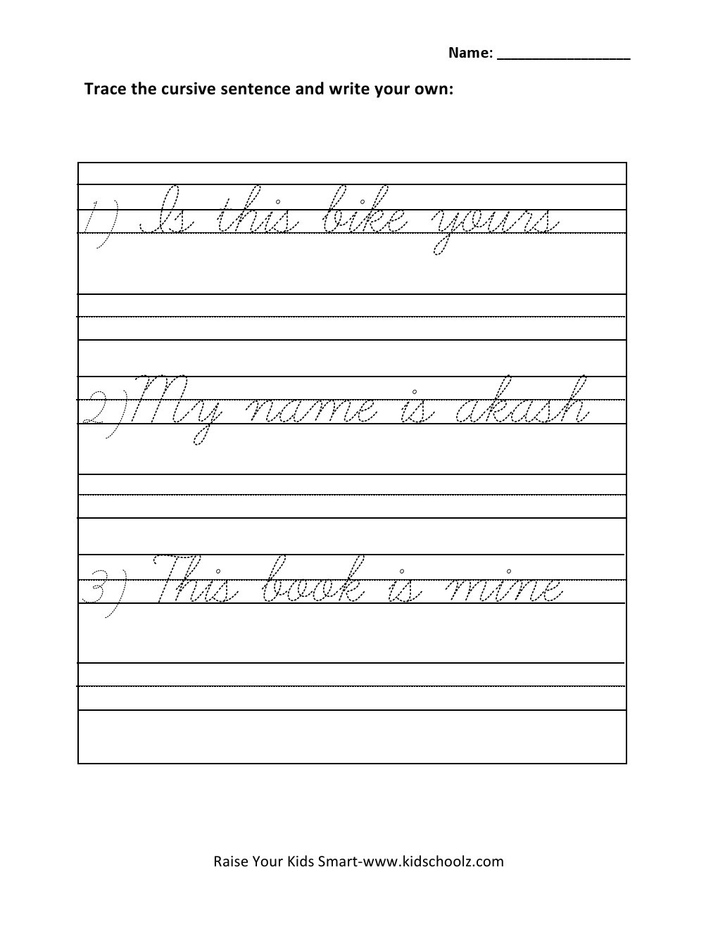 Cursive Sentences Worksheets Printable Math Worksheet Fantastic Cursive Writing Printable