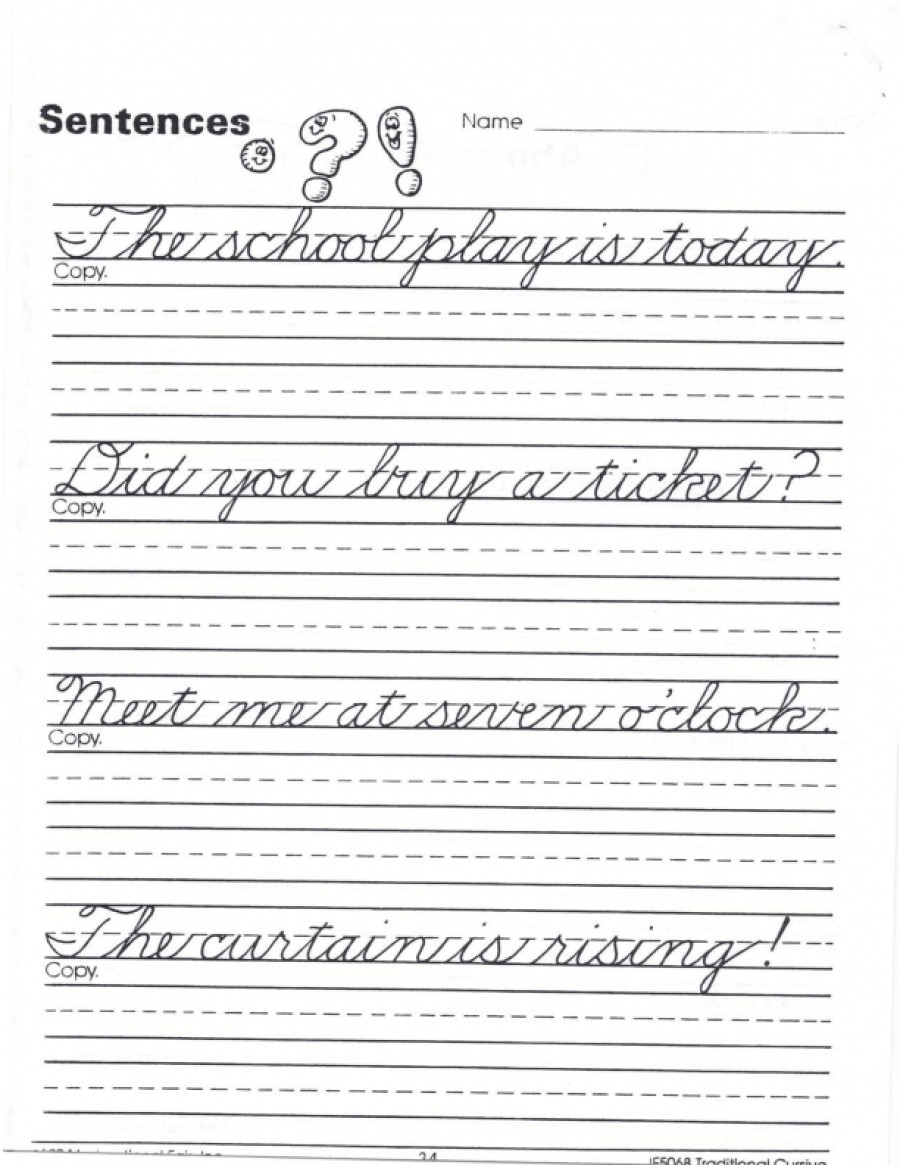 Cursive Sentences Worksheets Printable Traditional Cursive Sentence Practice