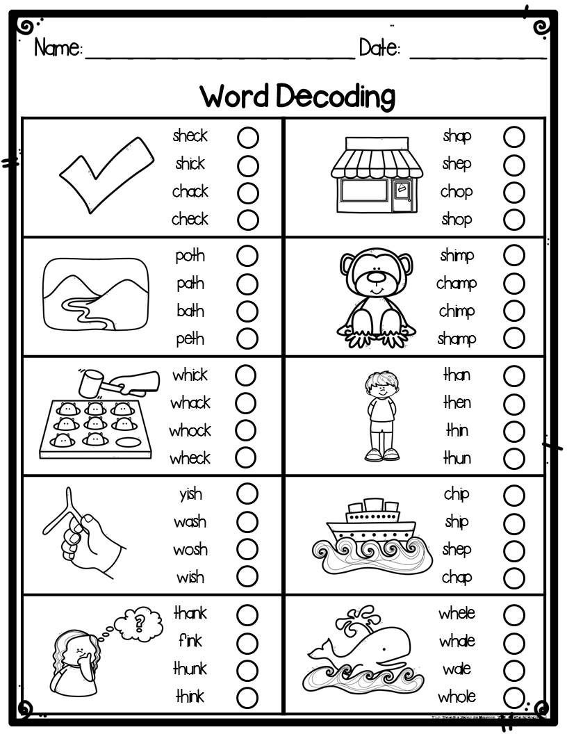 Decoding Worksheets for 1st Grade Digraphs Word Decoding Practice & assessment Worksheets for