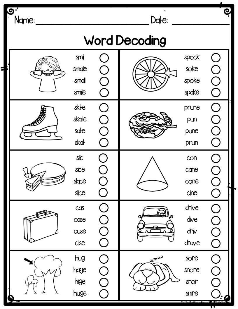 Decoding Worksheets for 1st Grade Silent or Magic E Word Decoding Practice Worksheets or