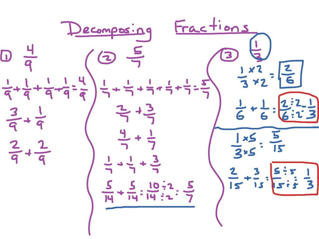 Decomposing Fractions Worksheets 4th Grade De Posing Fractions