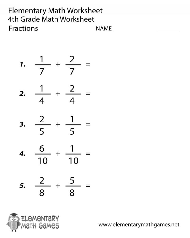 Decomposing Fractions Worksheets 4th Grade Free Printable 4th Grade Math Fraction Worksheets Di 2020