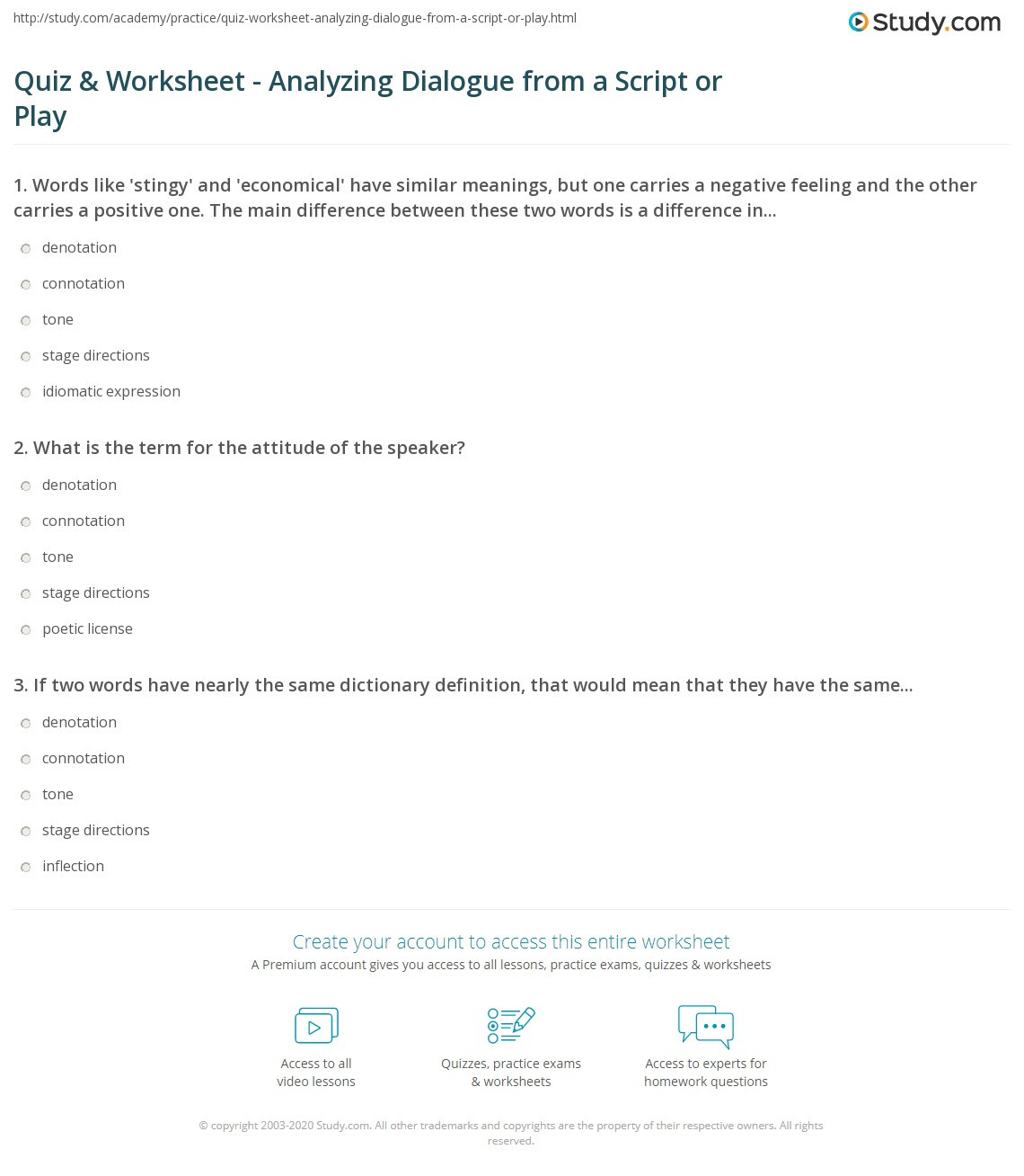Dialogue Worksheets for Middle School Quiz & Worksheet Analyzing Dialogue From A Script or Play