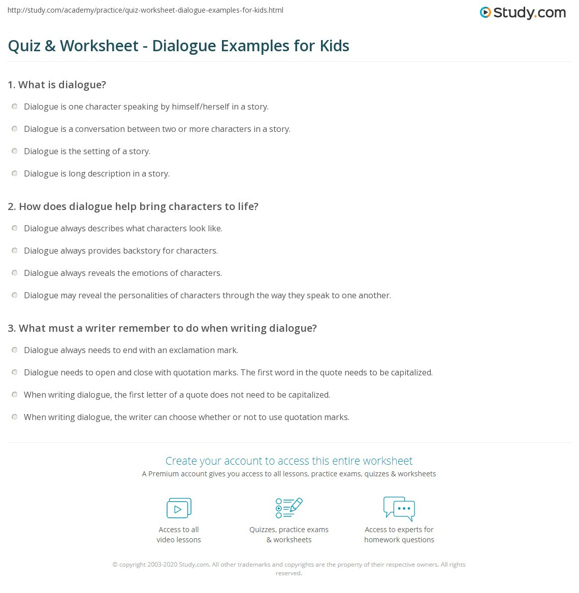 Dialogue Worksheets Middle School Quiz & Worksheet Dialogue Examples for Kids
