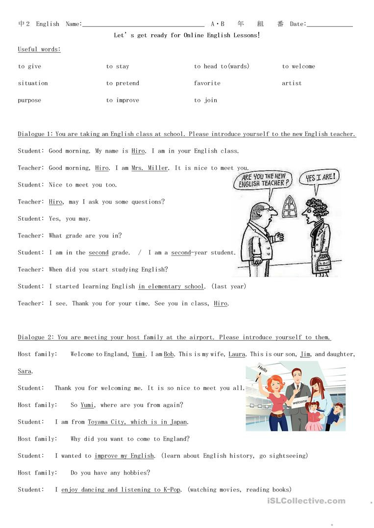 Dialogue Worksheets Middle School Self Introduction Situational Dialogues English Esl