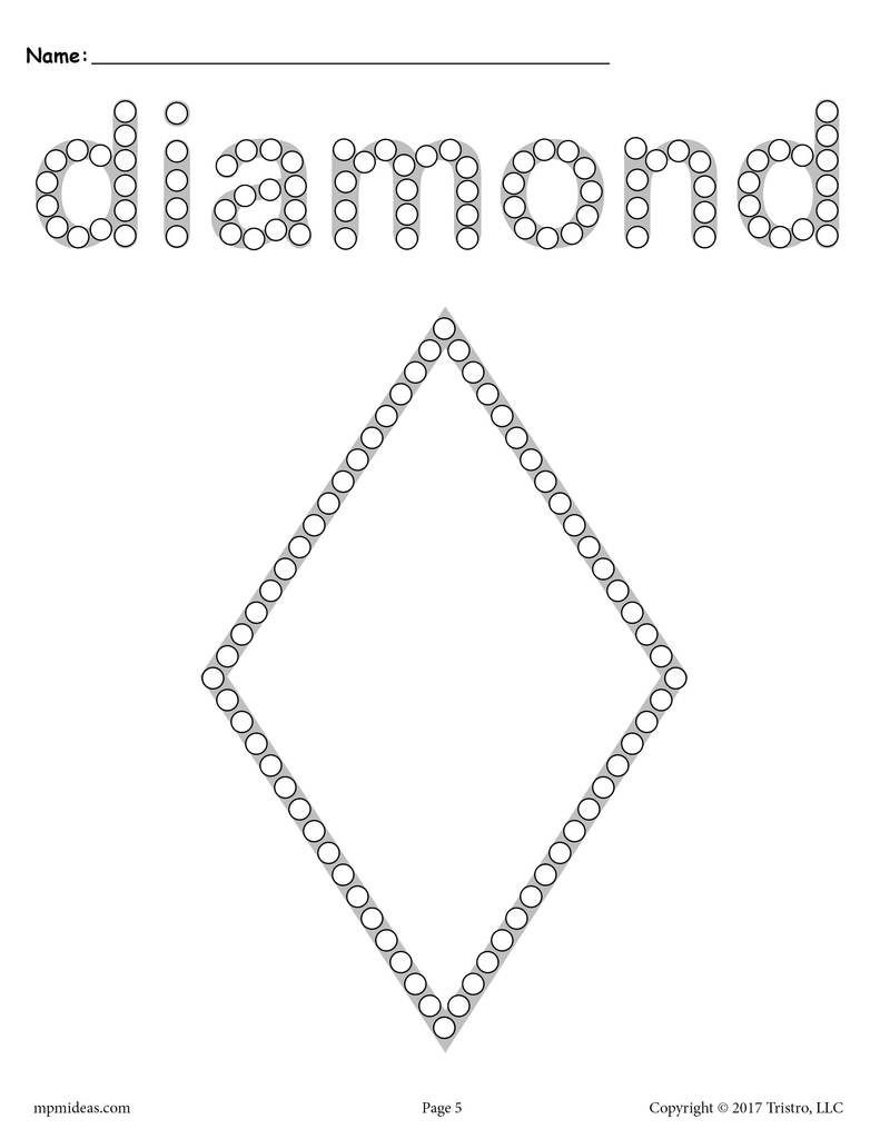 Diamond Worksheets for Preschool Diamond Q Tip Painting Printable In 2020