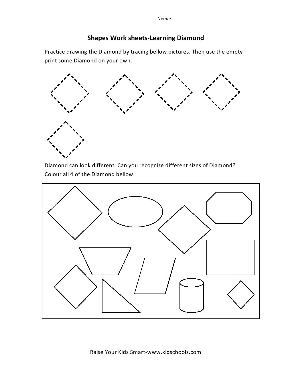 Diamond Worksheets for Preschool Learning Shapes Worksheets Diamond Kidschoolz