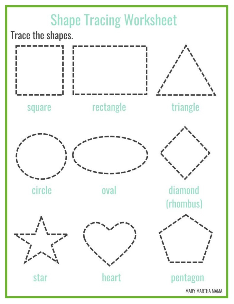 Diamond Worksheets for Preschool Shape Tracing Worksheets for Free Download Shape Tracing