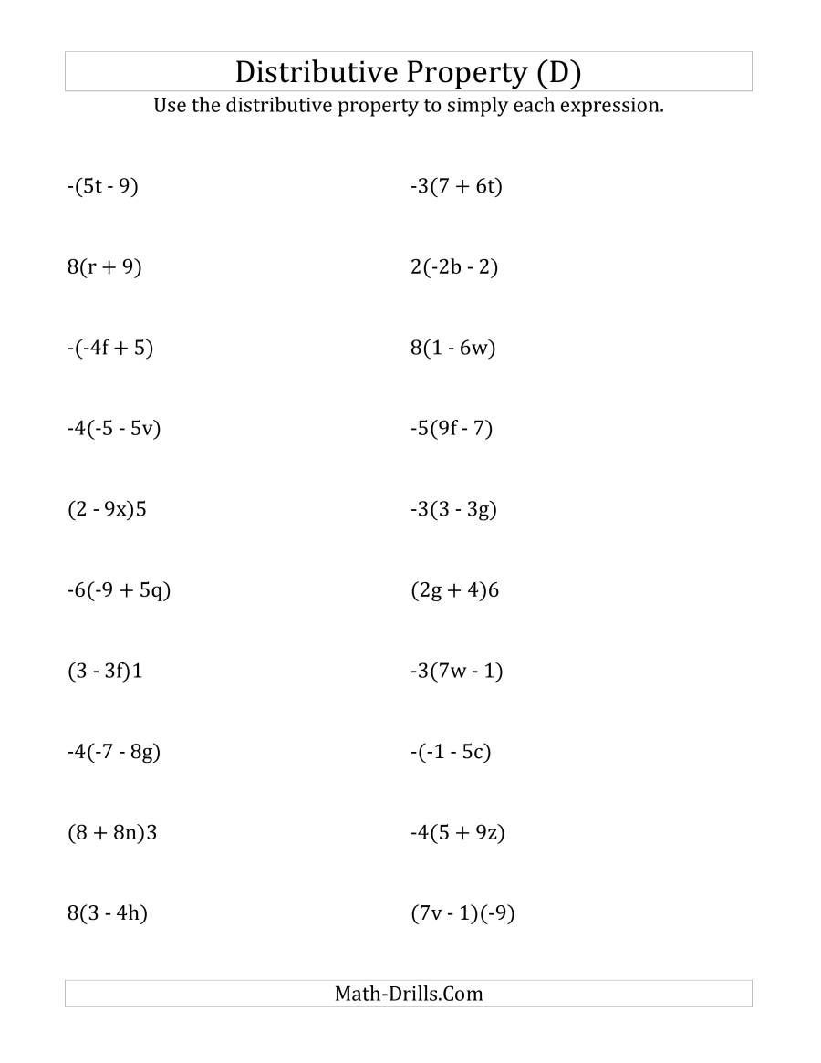 Distributive Property Worksheets 9th Grade the Using the Distributive Property Answers Do Not Include