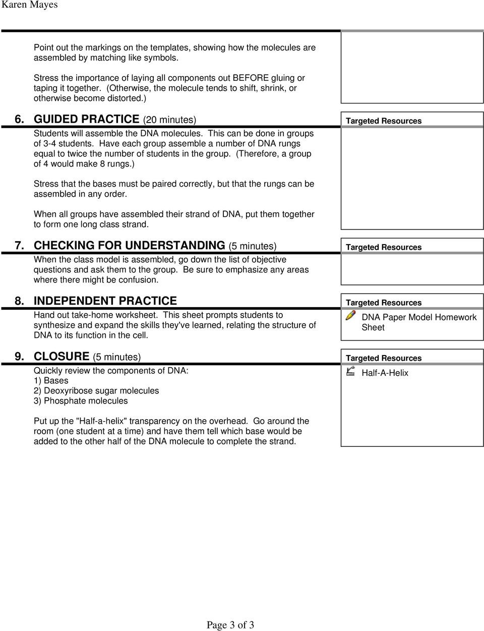 Dna Worksheet Middle School Pdf Dna Paper Model Activity Level Grade Pdf Free Download