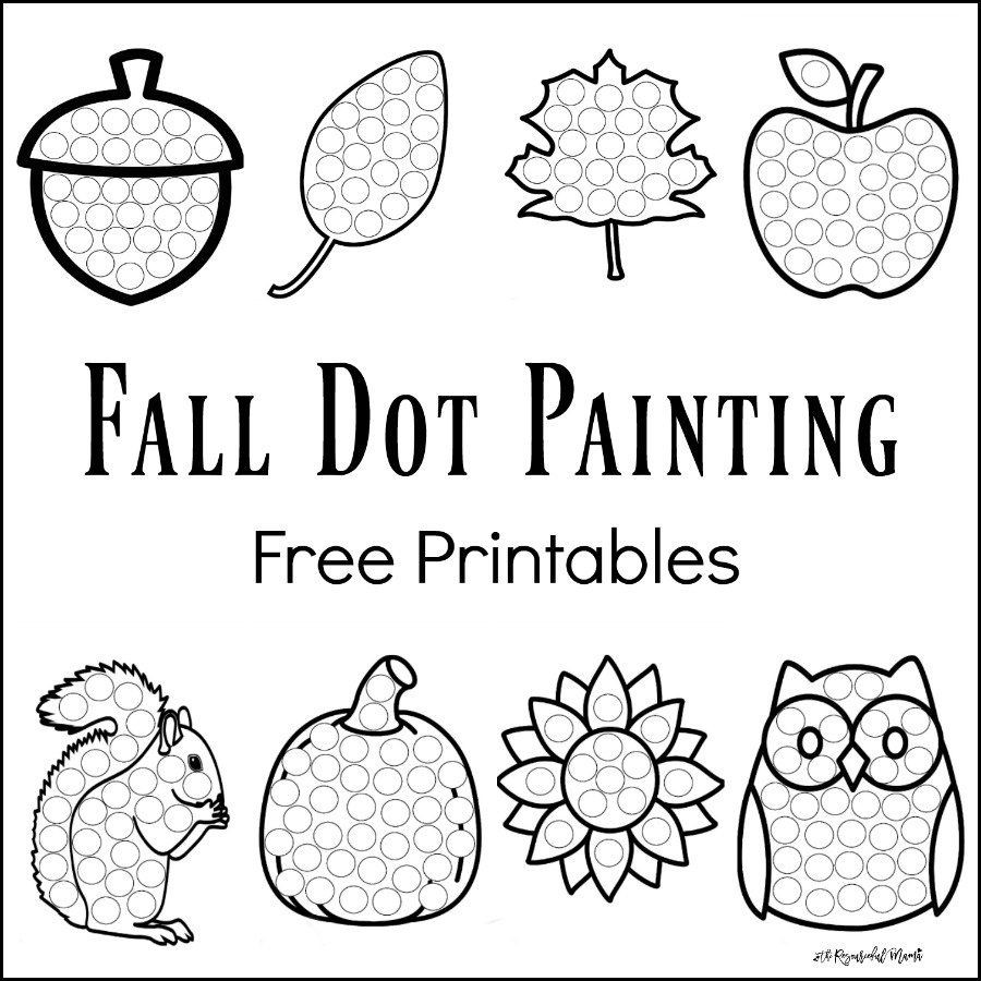 Dot to Dot Art Printables Fall Dot Painting Free Printables