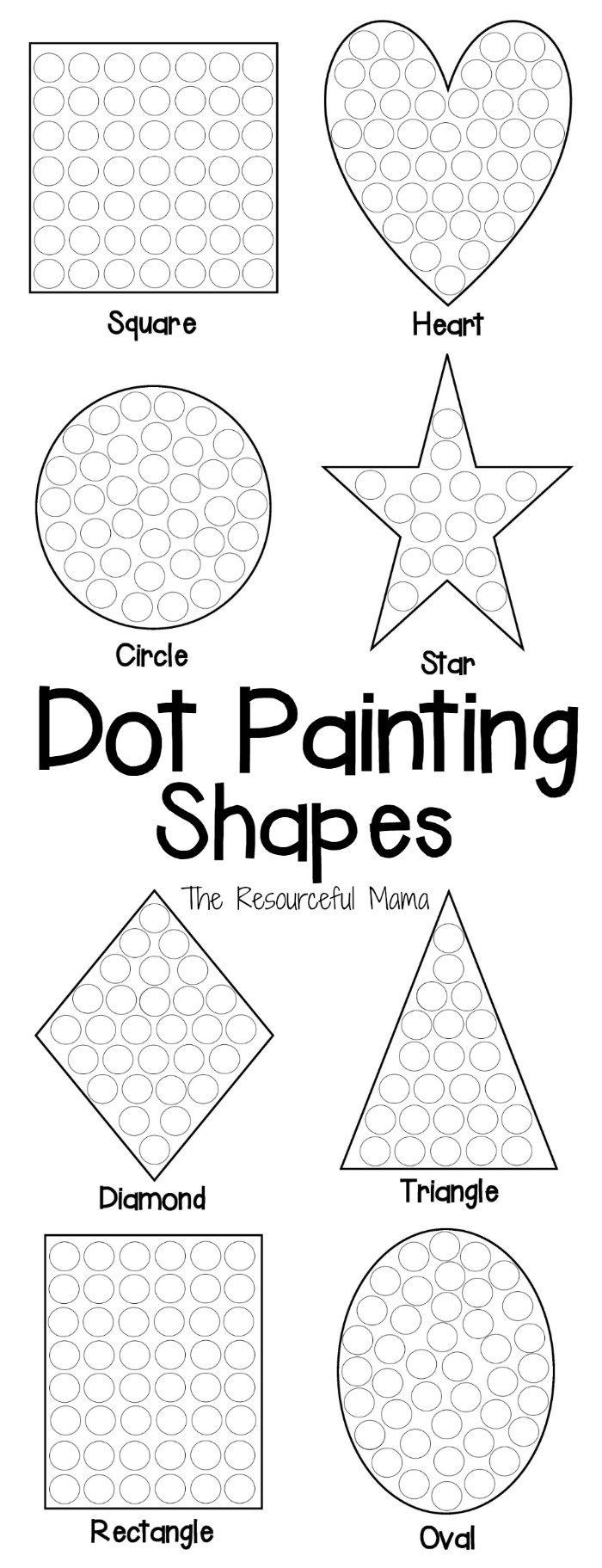 Dot to Dot Art Printables Shapes Dot Painting Free Printable