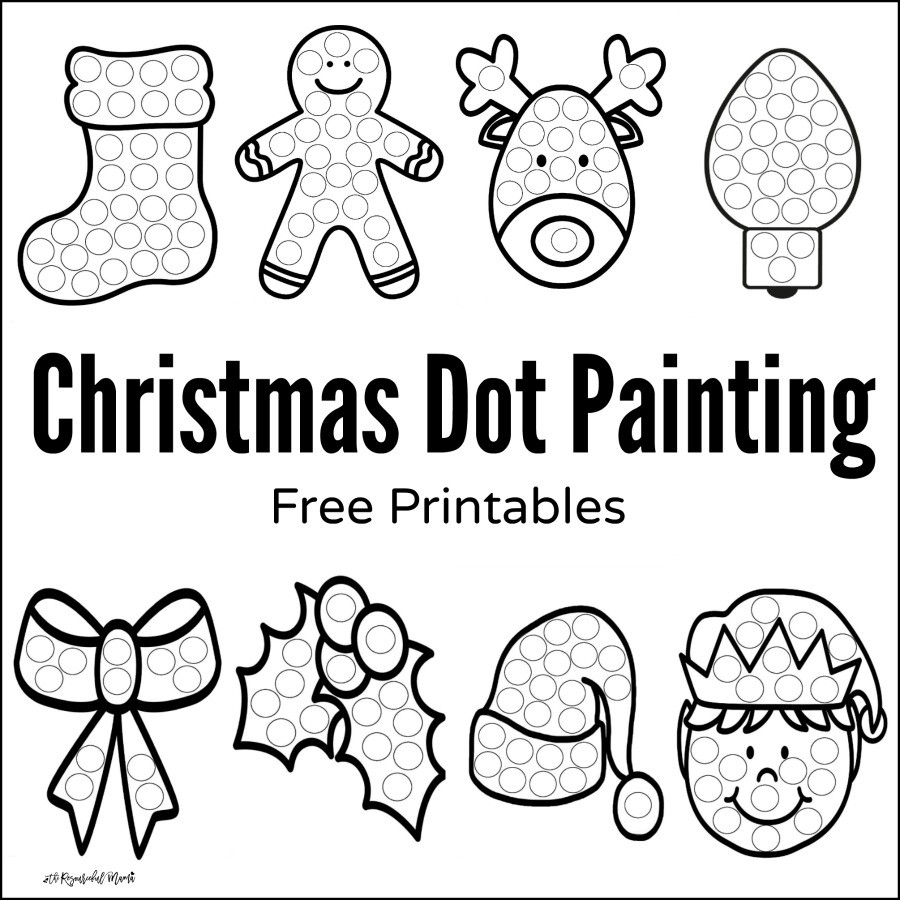 Dot to Dot Christmas Printables Christmas Dot Painting Free Printables the Resourceful Mama