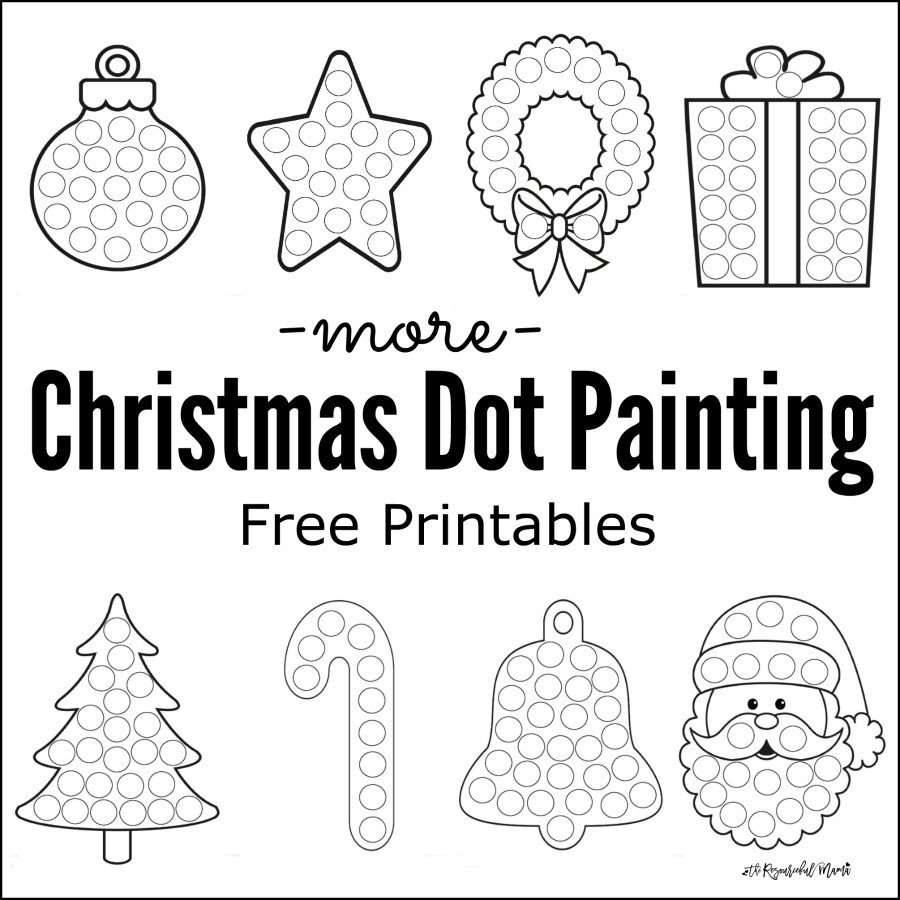 Dot to Dot Christmas Printables More Christmas Dot Painting Free Printables the