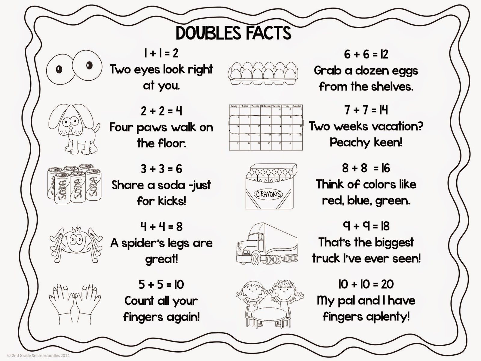 Doubles Rap Printable Doubles Facts Freebie