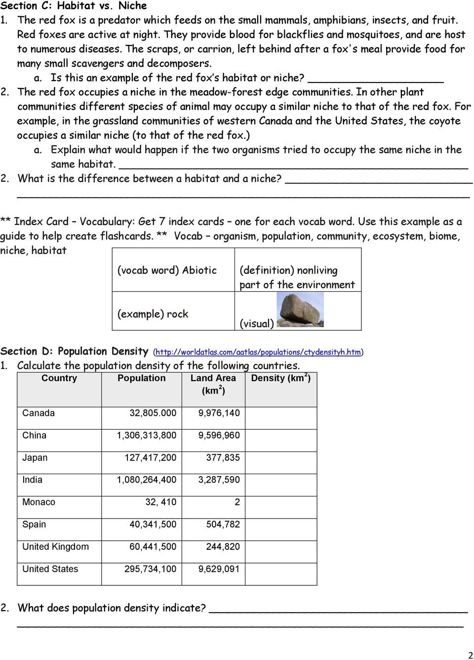Ecology Worksheets Middle School Population Munity & Ecosystem Worksheet Pdf Free Download