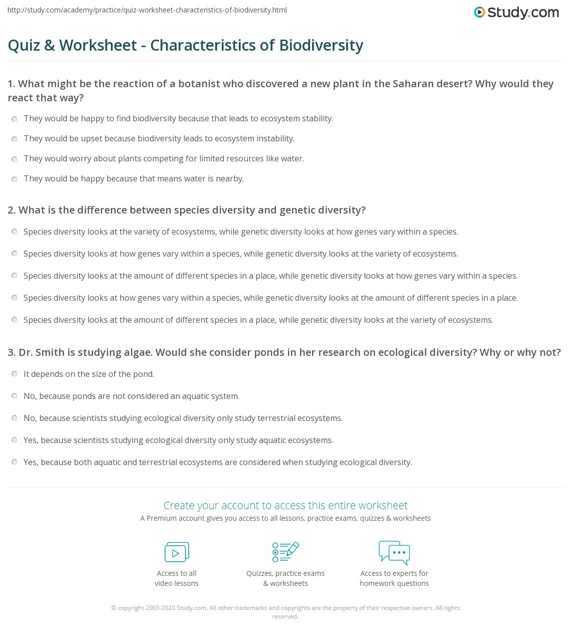 Ecology Worksheets Middle School Quiz & Worksheet Characteristics Of Biodiversity
