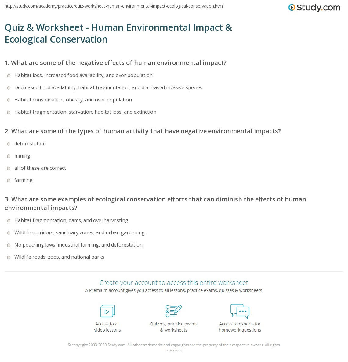Ecology Worksheets Middle School Quiz & Worksheet Human Environmental Impact & Ecological