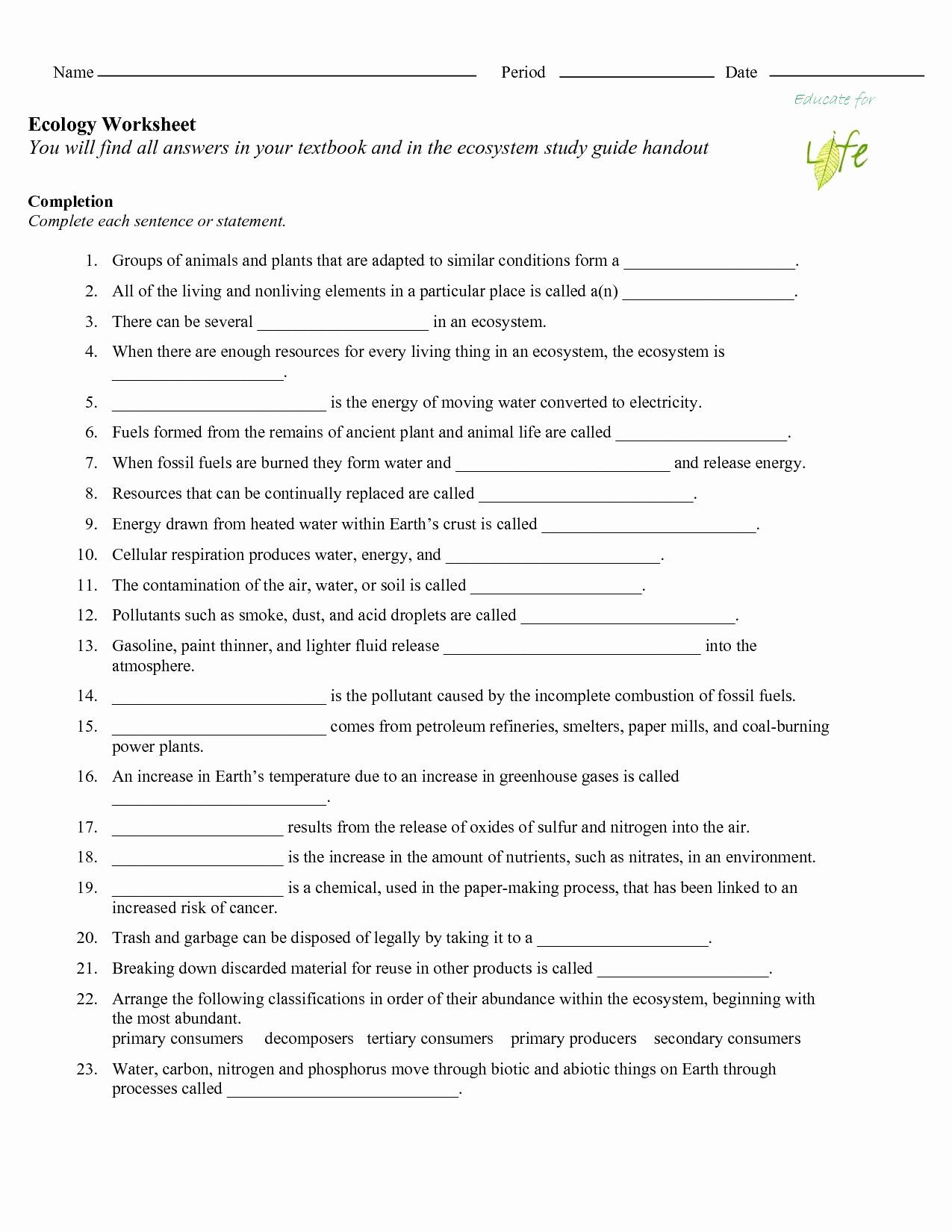 Ecology Worksheets Middle School Stages Ecological Succession Worksheet