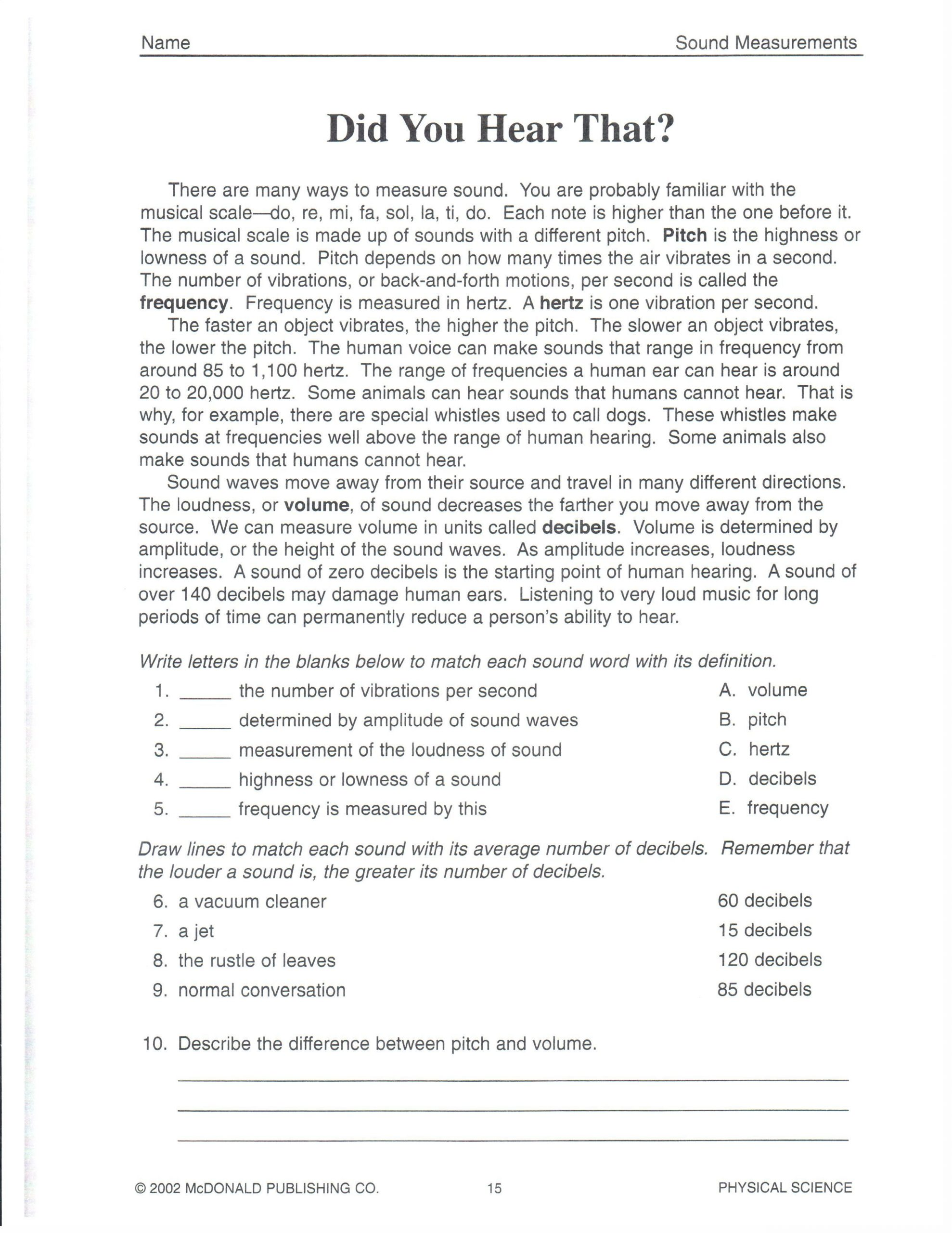 Eighth Grade Science Worksheets Physical Science Did You Hear that 101roxm 2 550—3 300