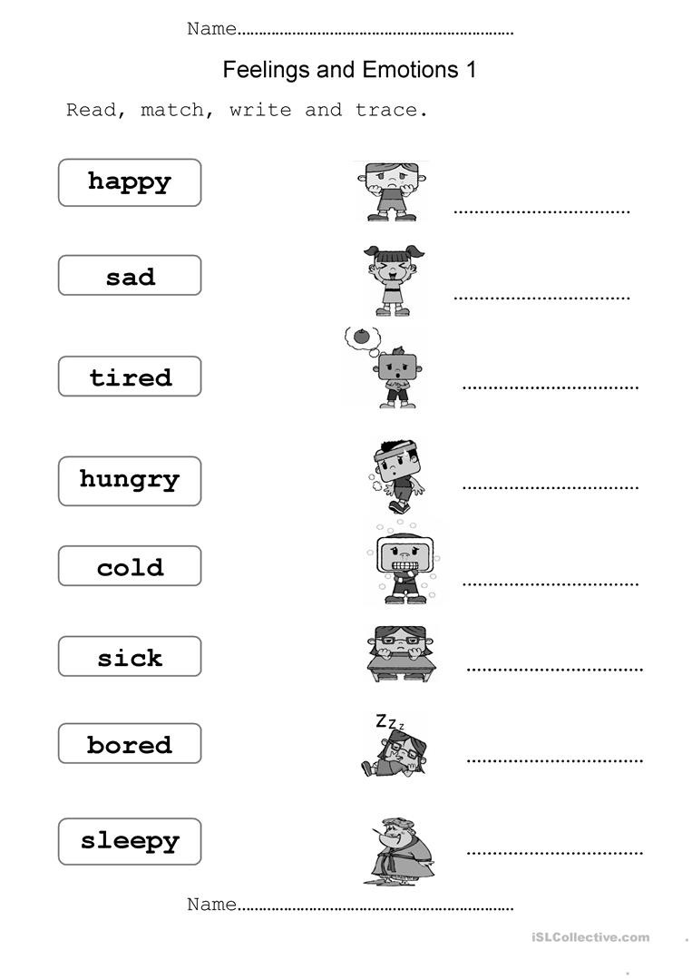 Emotions Worksheets for Preschoolers English Esl Feelings Worksheets Most Ed 354 Results