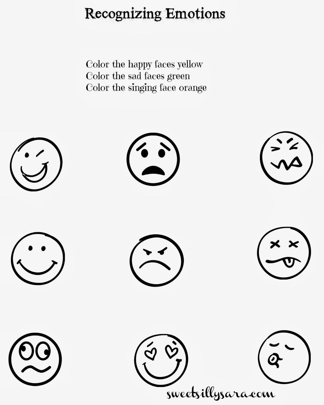 Emotions Worksheets for Preschoolers Sweet Silly Sara Recognizing Emotions Worksheet for Kids