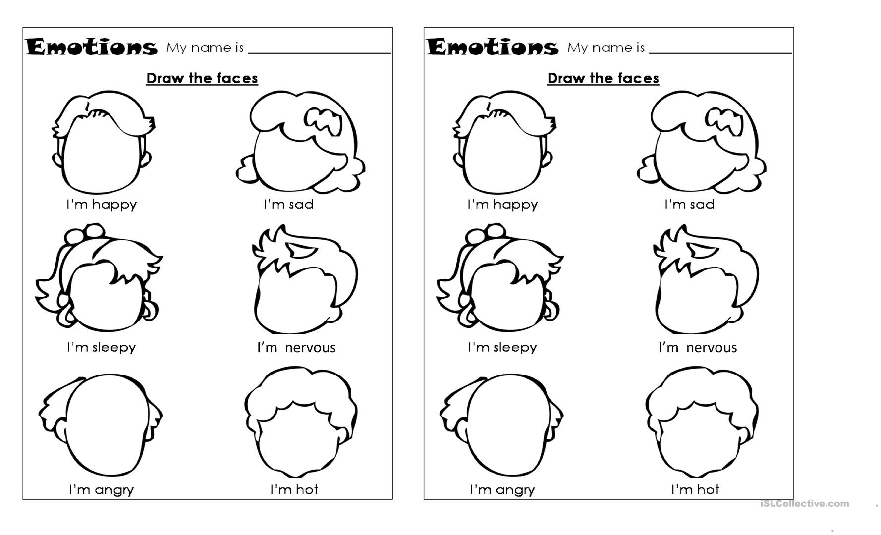 Emotions Worksheets for Preschoolers Worksheets Emotions
