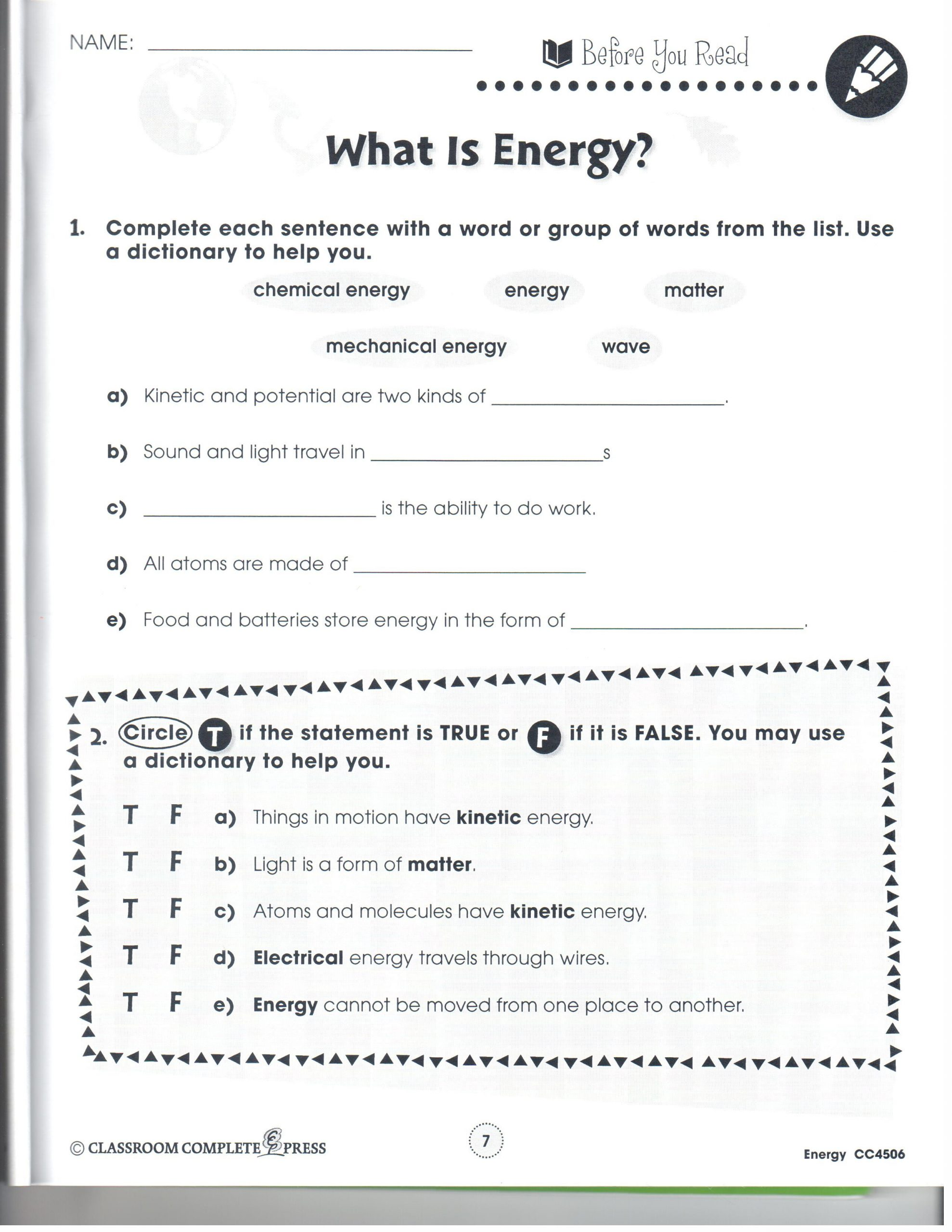Energy 4th Grade Worksheets 4th Grade Science Worksheets Animal