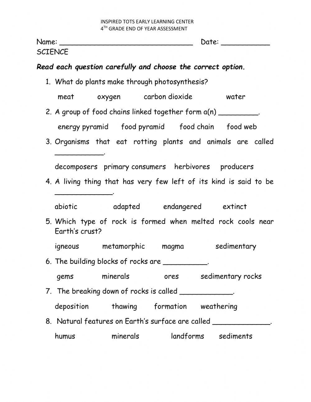 Energy 4th Grade Worksheets End Of Year assessment Interactive Worksheet